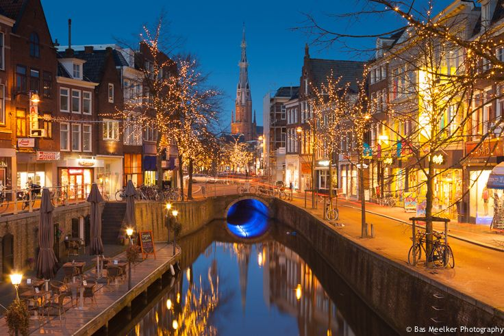 Image of the center of Leeuwarden city at night in the Netherlands