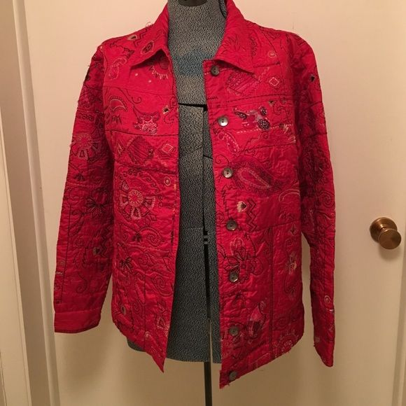 Laura Ashley quilted box jacket size M Laura Ashley button front red quilted jacket.  Long sleeves with button cuffs Laura Ashley Jackets & Coats Blazers