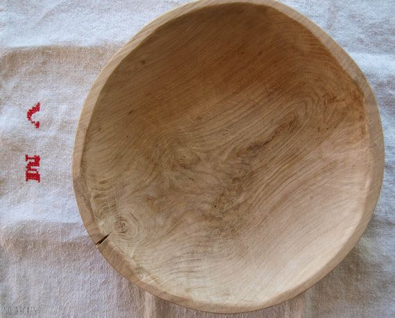 handmade oak bowl,raw, pure massive wood,decoration,rustic,farmhouse,primitive wooden bowl, hand curved dough bowl, French, vintage inspired