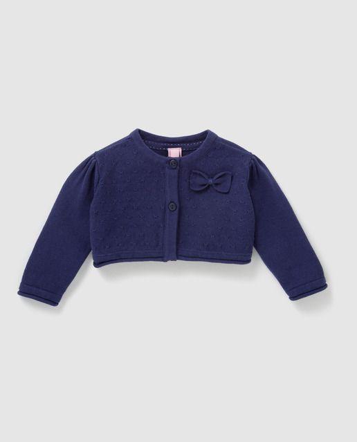 5af17c28c Bolero de bebé niña de Freestyle en azul marino con lazo | Jersey ...