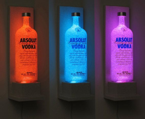 Absolut Vodka Wall Mount Color Changing LED Remote Controlled Eco Friendly rgb LED Bottle Lamp/Bar Light - Sconce -Bodacious Bottles-, $69.95 Más