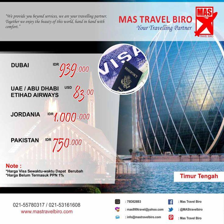 Ingin membuat #Visa Timur Tengah? Mas Travel Biro dapat membantu teman teman travelers dalam pembuatan Visa. Info: 021-55780317 / 021-53161608