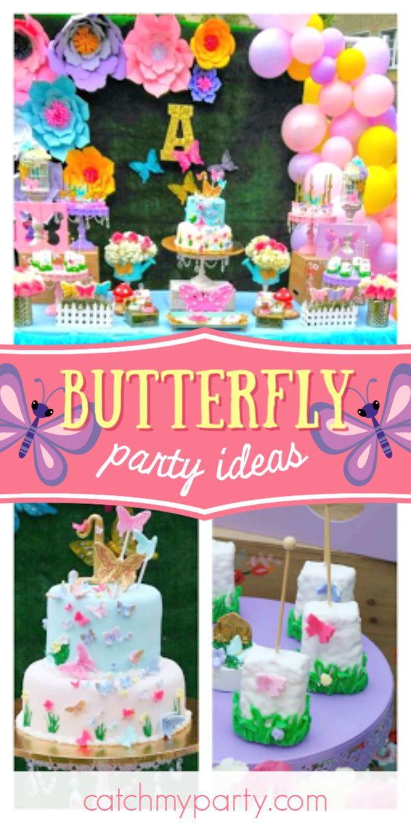 Butterflies Garden Birthday Butterflies Garden 1st Birthday Catch My Party Garden Party Birthday 1st Birthday Party For Girls Girls Birthday Party Themes