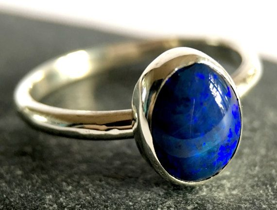 Solid Black Opal Ring. Australian Lightning Ridge Black Opal