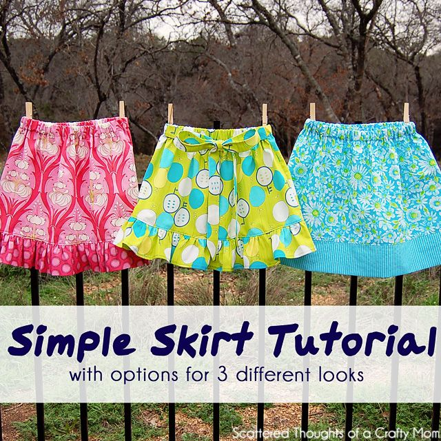 How to sew a simple skirt, this great free little tutorial even has options for 3 different looks!