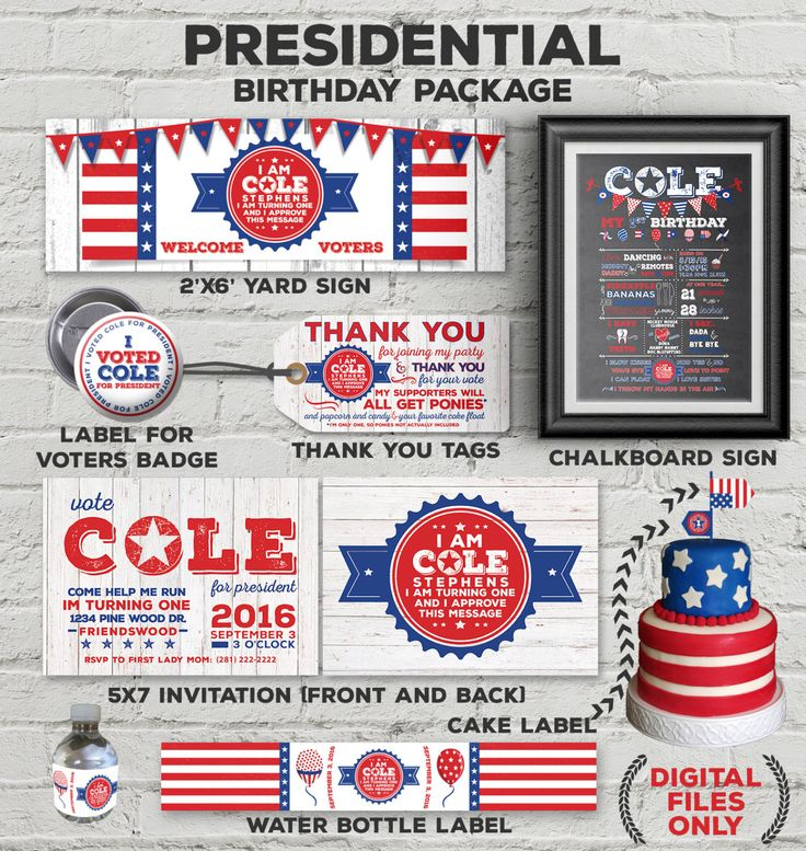 12 best President Themed Birthday Party First Birthday Idea – Presidential Birthday Card
