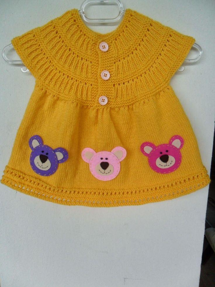 Bir Dalda İki Baykuş: Ayıcıklı bebek elbisesi :)