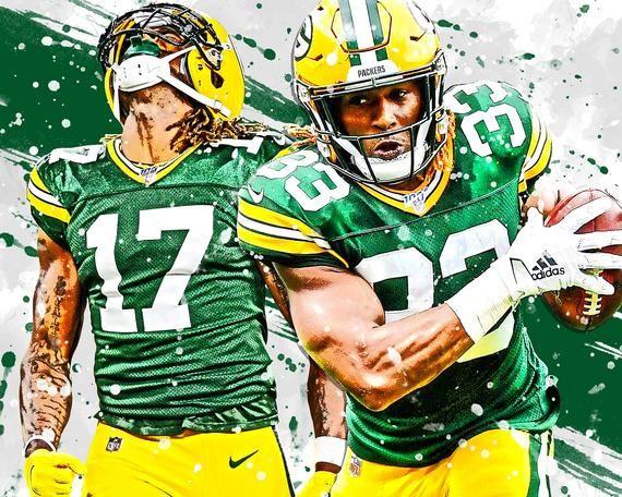 Davante Adams Aaron Jones Green Bay Packers Poster Print Etsy Green Bay Packers Green Bay Packers Art Green Bay