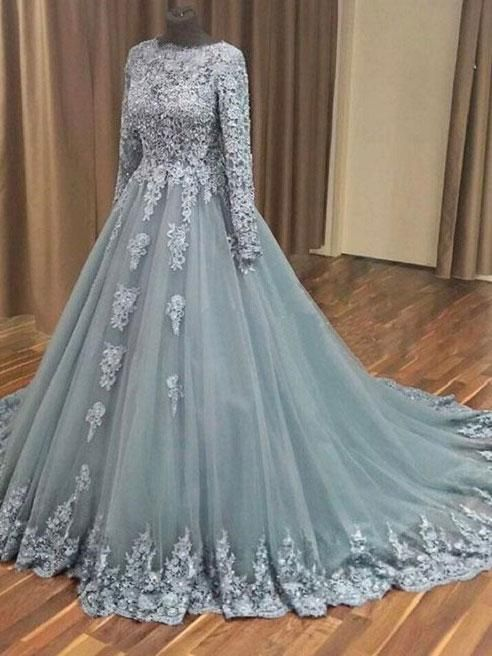 A-line Grey Tulle Lace Appliqued Long Sleeves Wedding Dresses Quincean - SheerGirl