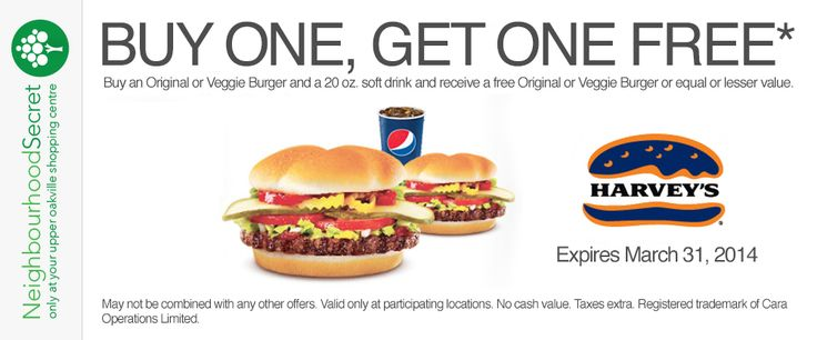 Buy one, get one free* at Harvey's. Coupon available at neighbourhoodsecret.net