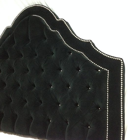 black velvet tufted headboard with double row of nailheads extra tall upholstered headboard king. Black Bedroom Furniture Sets. Home Design Ideas