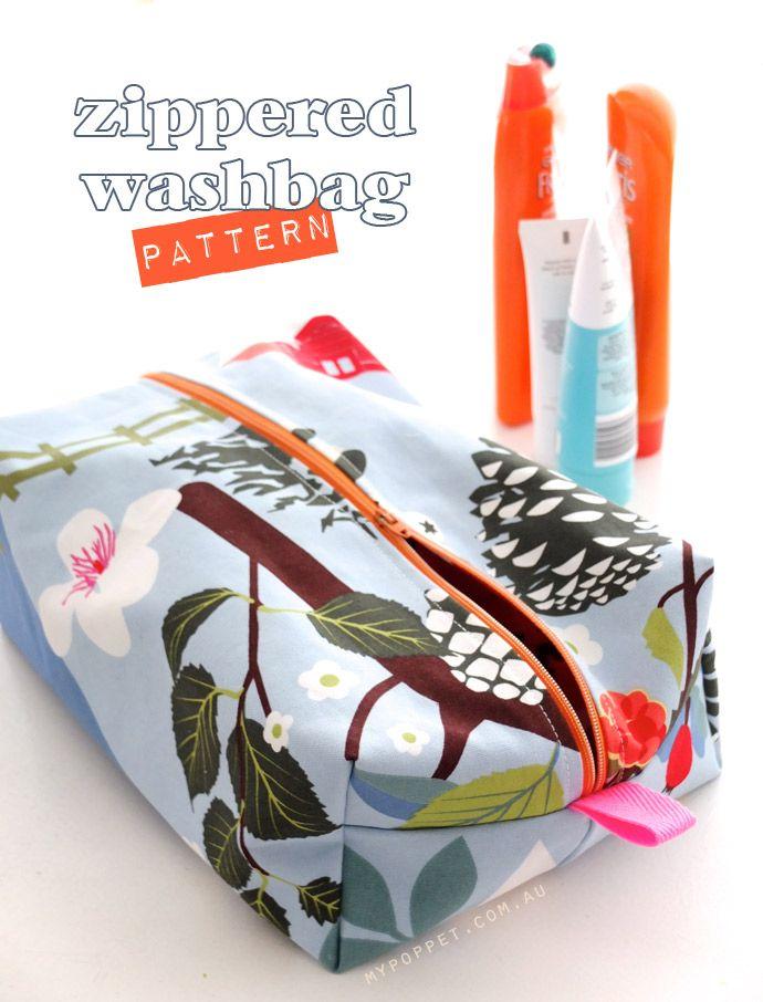 Zippered box shaped wash bag with waterproof lining - free pattern