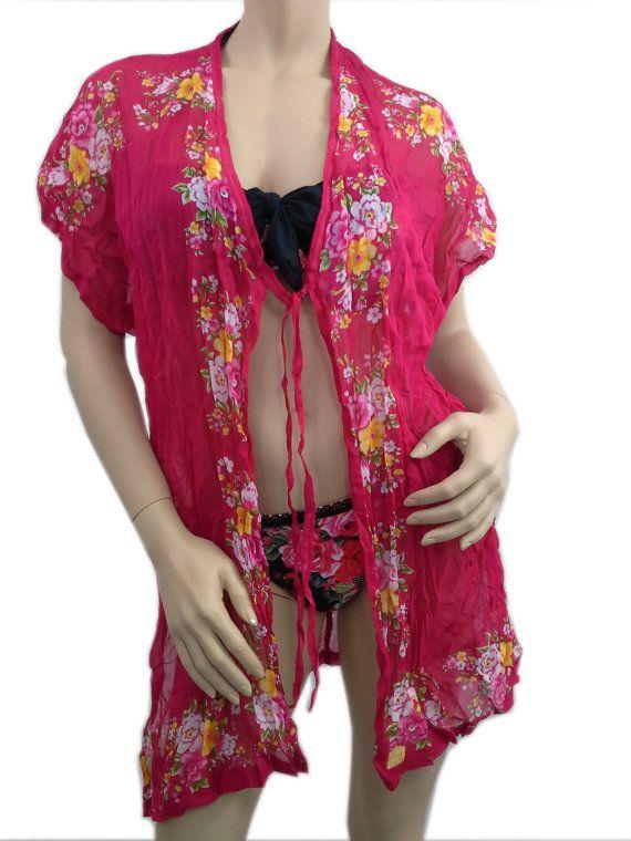 SOFT Cotton Kimono Beach Cover Up Floral Shawl Red Beachwear Kimono Top Women Summer Clothing Beach Kaftan Beach Dress Gifts For Her