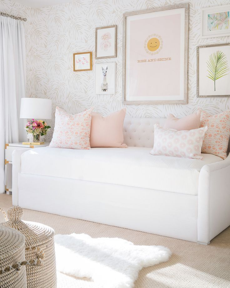 Light Pastel Girl Room Decor With Day Bed Playroom Decor With Wall Gallery Girls Daybed Room Girls Daybed Girl Room