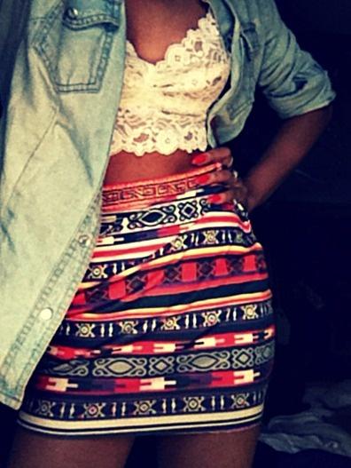 tribal skirt and lace top love itttttt