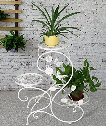 Stand-Plant-Pot-Garden-and-Home-3-tier-Classic-Modern-S-Design-White-New