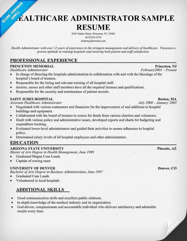health administrator resume free resume example httpresumecompanioncom