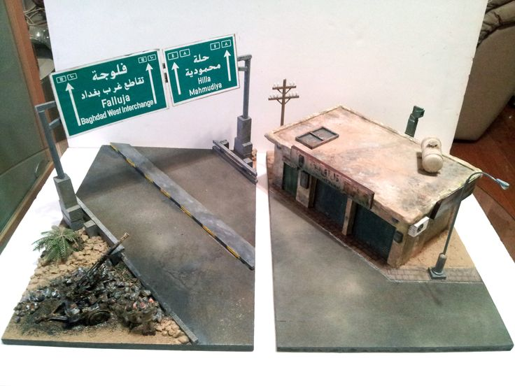 Here we see two of my diorama panels #5 and #6 as they are joined to create a continual scene.