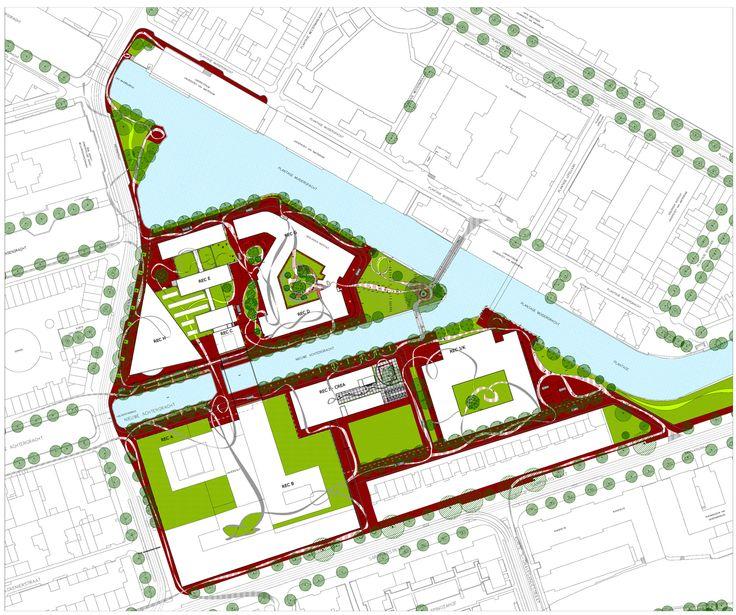 "Roeterseiland Campus – University of Amsterdam, ""Ribbon"" Site Plan by Petra Blaisse"
