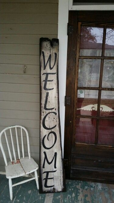 Welcome sign. Old barn wood.
