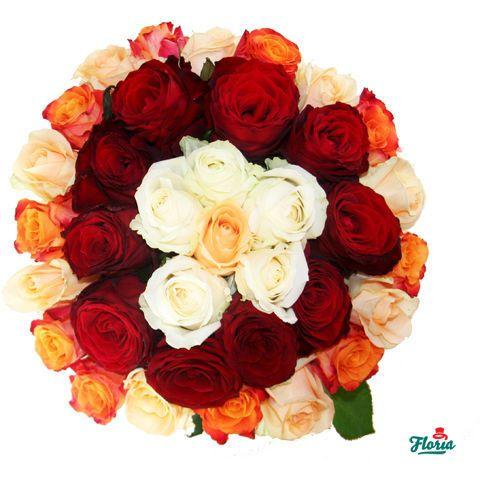 Buchet de 35 Trandafiri Multicolori