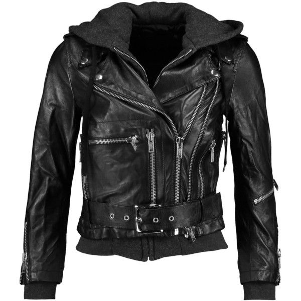 R13 - Moto Hooded Leather Jacket ($638) ❤ liked on Polyvore featuring outerwear, jackets, black, rider leather jacket, hooded jacket, biker jackets, genuine leather biker jacket and moto jackets