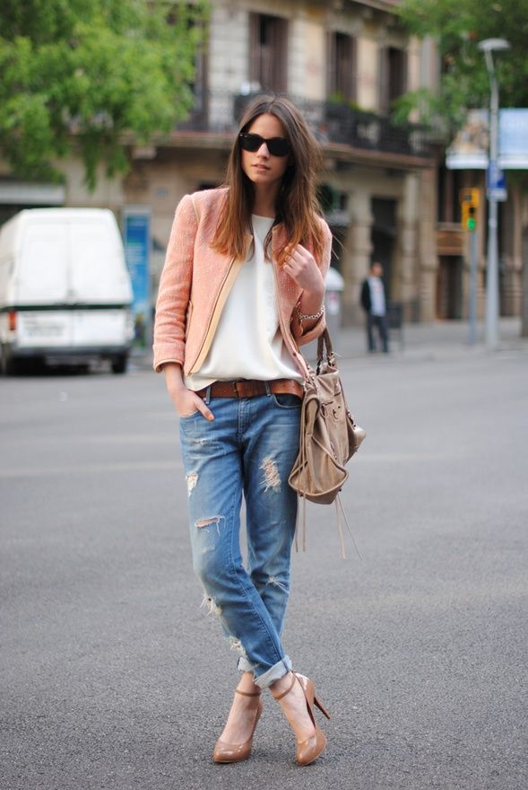 My go-to casual outfit. Boyfriend jeans, heels, and a lady-like jacket.