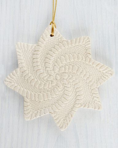 White Pinwheel Lace clay Ornament