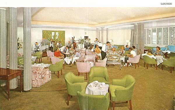 Lounge on Union-Castle Line ship, 1960's