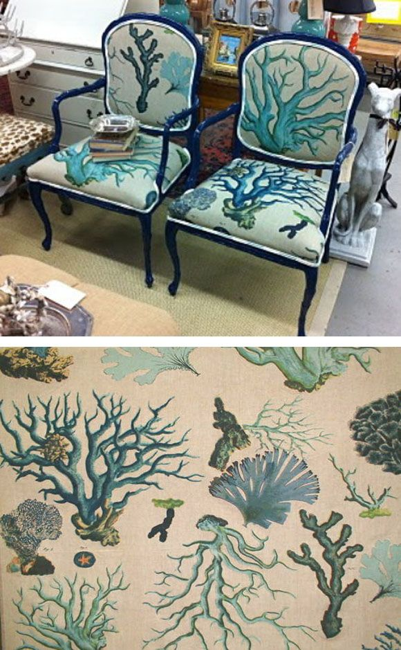 Upholstered chairs with coral fabric.  Find coastal fabrics on Completely Coastal: http://www.completely-coastal.com/2010/04/fabrics-from-seashell-to-beach-to.html