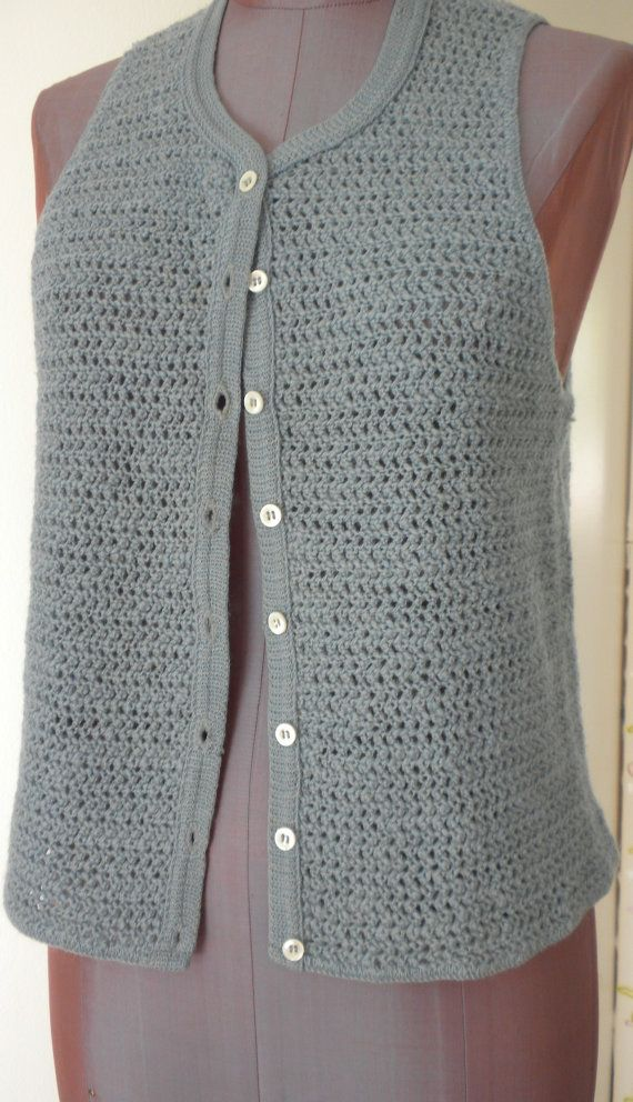 60s Sweater Vest Ladybug Slate Blue Crocheted