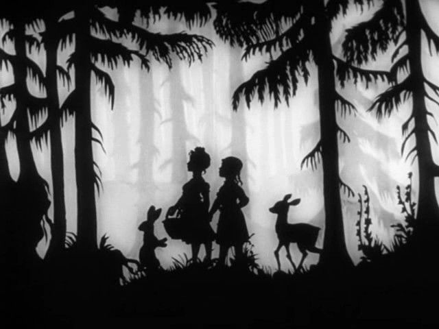Snow White and Rose Red fairytale silhouettes by Lotte Reiniger 1954