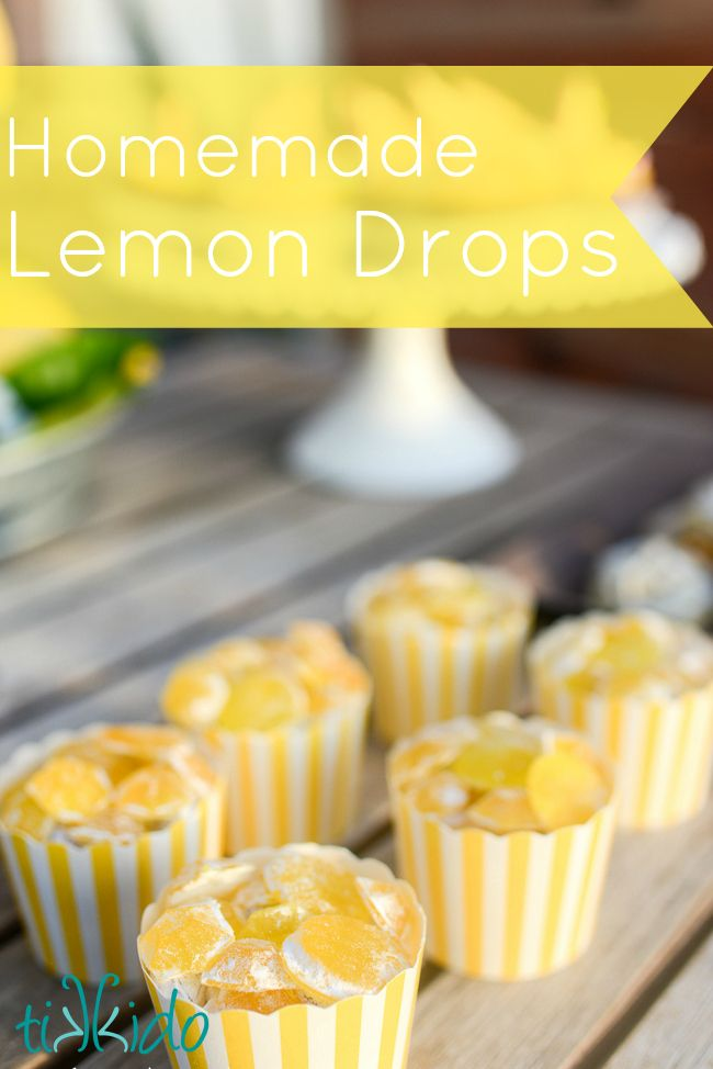 Recipe for making homemade lemon drops hard candies.        Mmm, tart, lemony goodness.