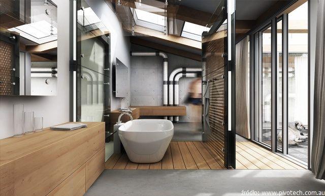 Beton w industrialnej łazience