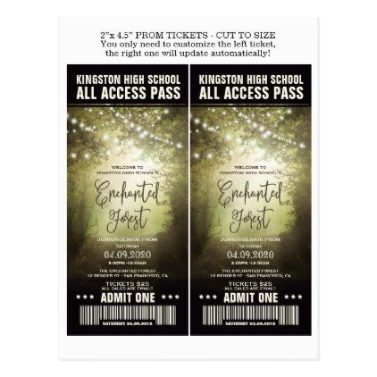 Enchanted Forest Prom Admission Tickets Templates Postcard - postcard post card postcards unique diy cyo customize personalize