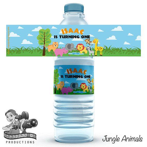 Jungle Safari Animals Water Bottle Labels