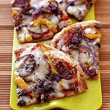 Grilled Pizza with Sausage Onions and Peppers