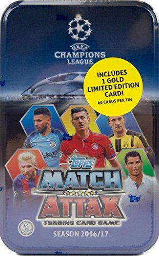 2016 2017 Topps UEFA Champions League Match Attax Card Game MEGA Collectors Tin with 60 Cards and a Bonus GOLD Limited Edition Card -- Visit the link on the image. Amazon Affiliate Program's Ads.