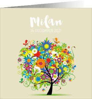 Kleurrijk geboortekaartje met een boom van bloemen, vlinders en lieveheersbeestjes