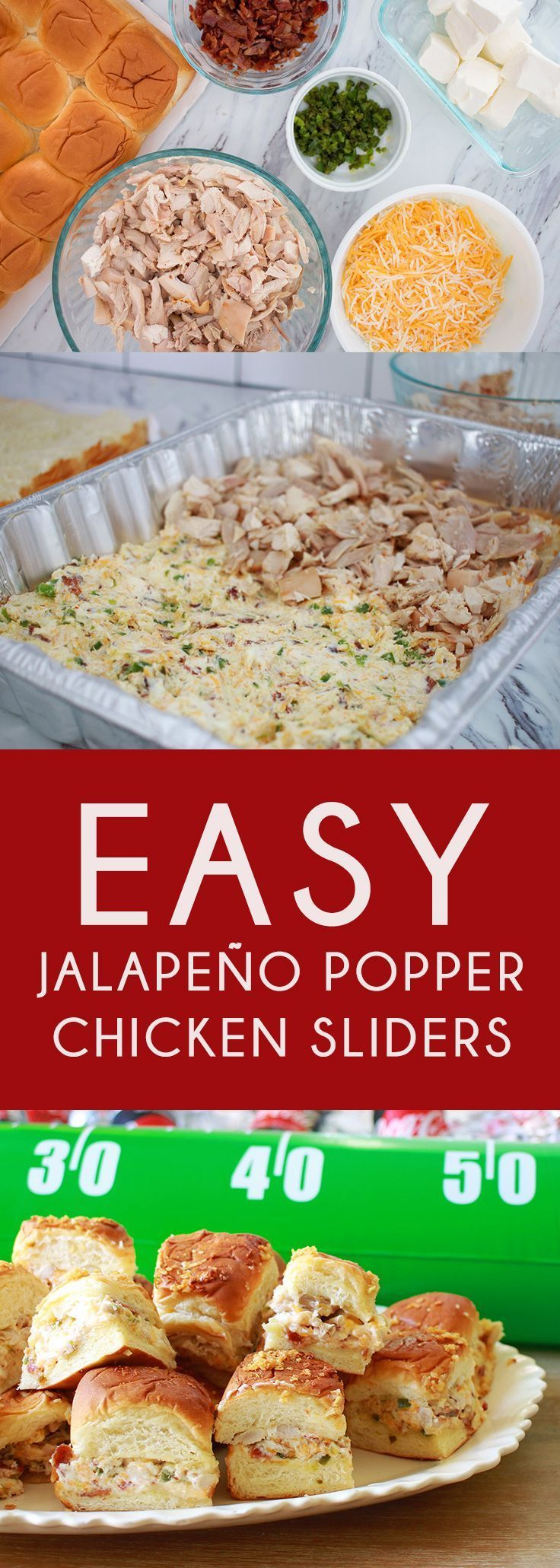 Easy Jalapeño Popper Chicken Sliders. Game day sliders for a crowd. Such easy jalapeno sliders that will have everyone scream TOUCHDOWN! The best rotisserie chicken sliders for game day. Easy shredded chicken sliders. OMG jalapeno chicken sliders recipe are delicious. You just gotta try these jalapeno cream cheese sliders