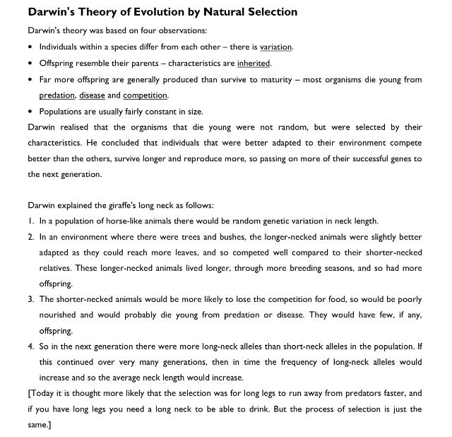 Darwin\'s theory of evolution by natural selection. | Evolution and ...