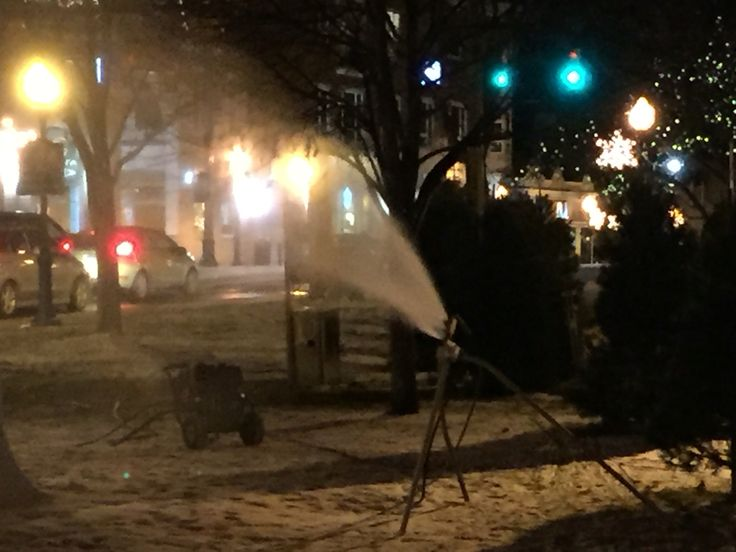 The dearth of snow this year has necessitated snow making machines in downtown Plymouth for the International Ice Spectacular this weekend. Very cool to watch. I bet they never thought they'd have to do this in early January..