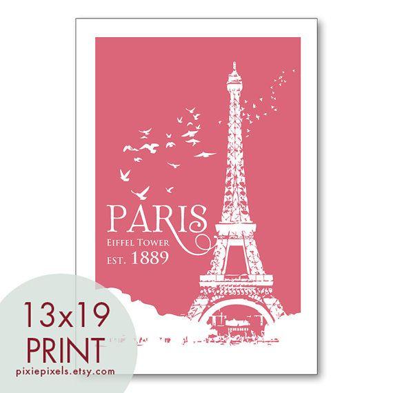 Paris Eiffel Tower Travel Posters  13x19 Poster by pixiepixels, $19.95