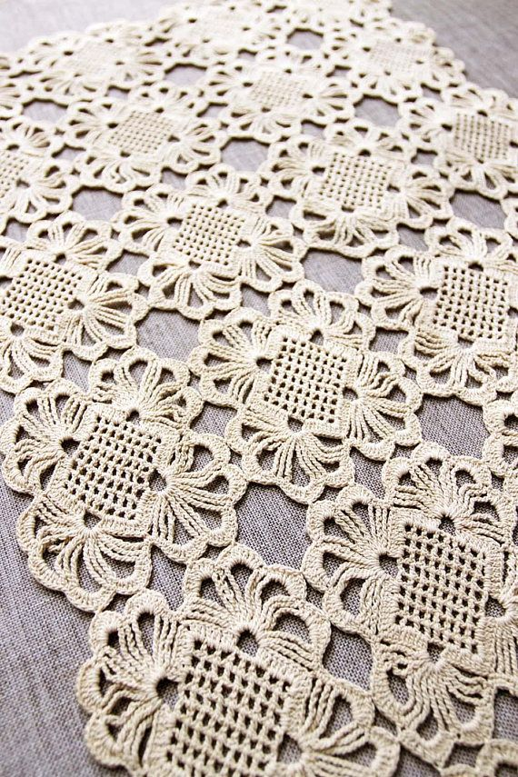 Vintage Crochet Doily handmade cream cotton doily