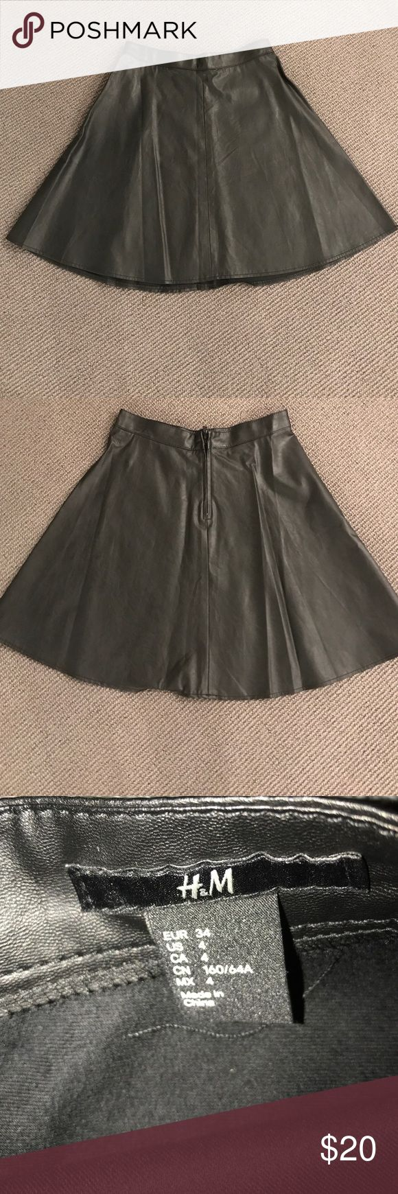 """Black """"pleather"""" size 4 skirt Cute H and M size 4 skirt. Zip back. Looks like leather. h and m Skirts"""