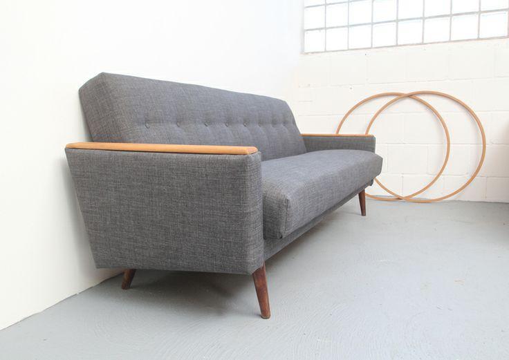 Perfect er Jahre Schlafsofa in Grau grey vintage daybed by silent cube via DaWanda