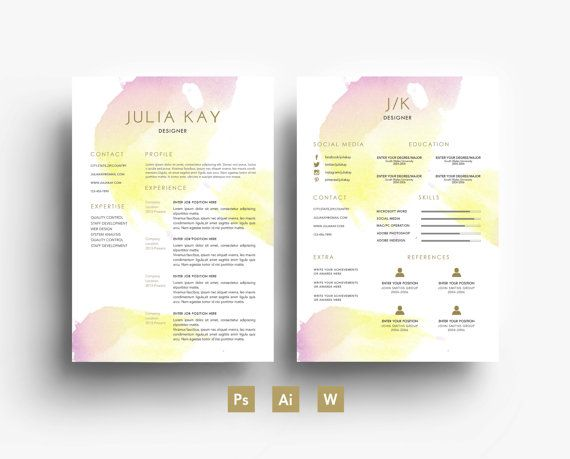 21 best Watercolour Résumés images on Pinterest | Cover letters ...