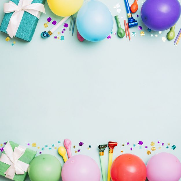 Download Birthday Decoration Card On Blue Background For Free In