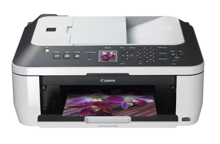 """Canon PIXMA MX330 Inkjet All-In-One Printer. Super G3 High-speed fax with memory to store 20 coded speed dials and up to 50 incoming pages when receiving ITU-T No. 1 Chart. Rapid document printing, copying and scanning and a borderless 4""""x6"""" photo in approximately 45 seconds. Various security features including password protected PDFs."""
