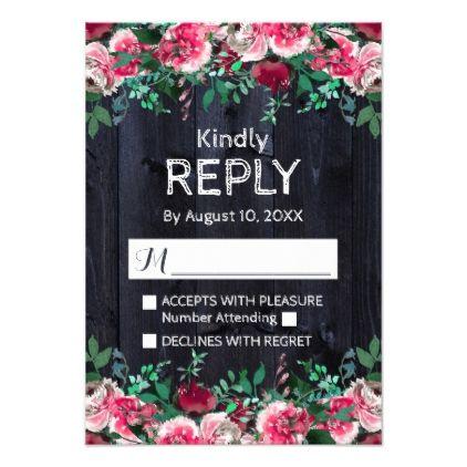 #personalize - #Wine Blush & Navy Wood Burgundy Wedding Reply RSVP Card